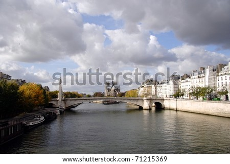 A view of Notre Dame de Paris from the Seine - stock photo