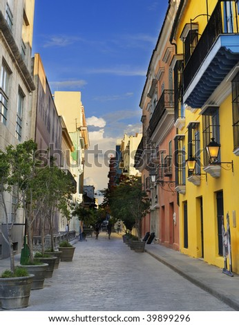 A view of Old Havana street with typical colonial buildings - stock photo