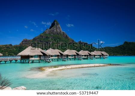 A view of Otemanu mountain from a luxury resort on Bora Bora island - stock photo