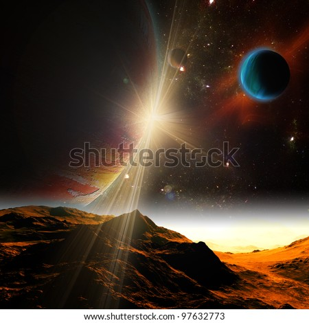 A view of planet earth and the universe from the moon's surface. Abstract illustration of distant regions. - stock photo