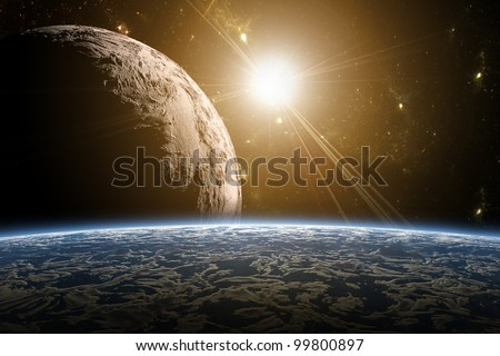 A view of planet earth, moon and sun. Abstract background of distant regions. New Age in the far travel and use of solar energy. - stock photo