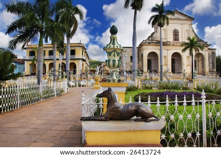 A view of plaza mayor in Trinidad, cuba - stock photo