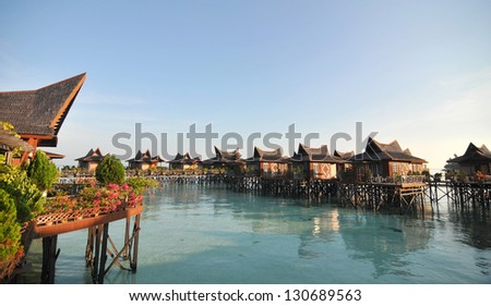 A view of resort of Mabul in the middle of sea celebes ocean - stock photo