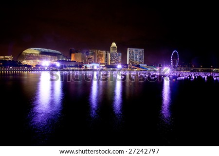 A view of singapore at night - stock photo