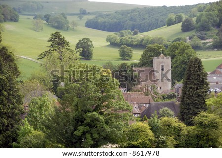 A view of Singleton a small historic village in West Sussex amid the south downs in England - stock photo