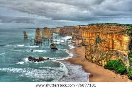 a view of the 12 Apostles on the Great Ocean Road, Australia - stock photo