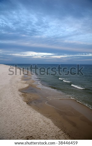 A view of the beach of Gulf State Park at Gulf Shores Alabama. - stock photo