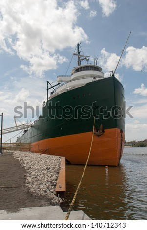 A view of the bow of a Great Lakes freighter - stock photo