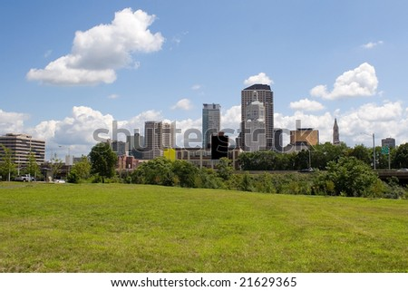 A view of the city skyline in Hartford Connecticut on a nice day. - stock photo