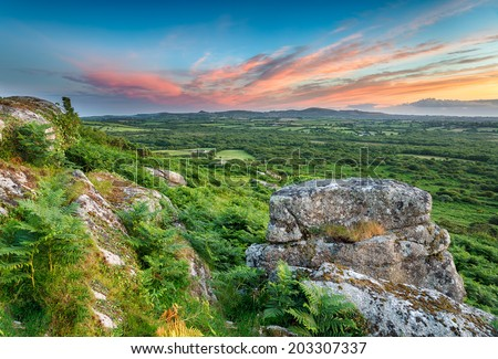 A view of the countryside in Cornwall from the top of Helman Tor near Bodmin - stock photo