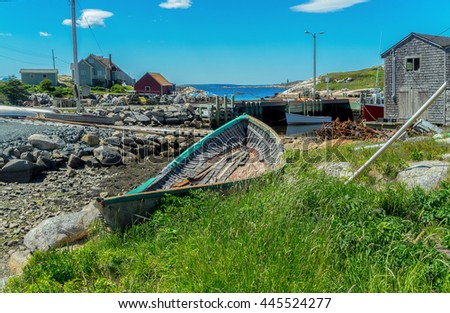 A view of the fishing village of Peggy's Cove, Nova Scotia. - stock photo