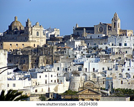A view of the hilltop town of Ostuni in southern Italy - stock photo