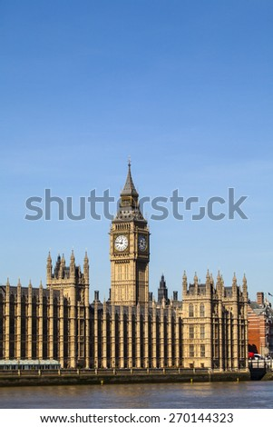 A view of the Houses of Parliament in London. - stock photo