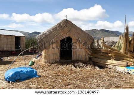 A view of the Lake Titicaca community islands on a sunny day. - stock photo