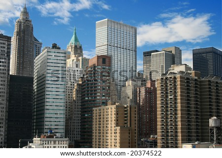 A view of the Lower Manhattan skyline. - stock photo