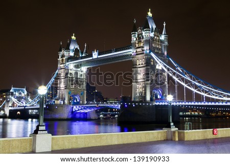 A view of the magnificent Tower Bridge and the river Thames in London. - stock photo