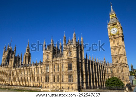 A view of the magnigicent architecture of the Palace of Westminster in London. - stock photo