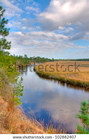 A View of the Marsh in Summer in South Carolina - stock photo