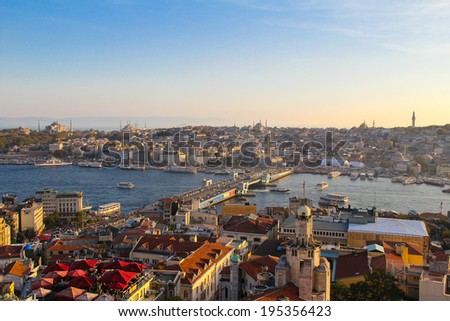 A view of the old city of Istanbul in Turkey during sunset.  - stock photo