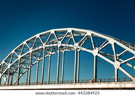 A view of the Railway Bridge over Daugava River in Riga, Latvia - stock photo
