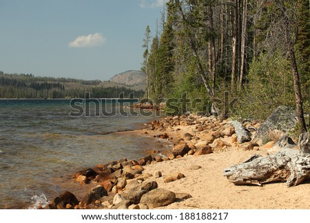 A view of the shore of Redfish lake in central Idaho - stock photo