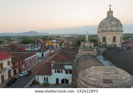 A view of the skyline of Granada, Nicaragua - stock photo