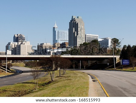 A view of the skyline of Raleigh, North Carolina. - stock photo