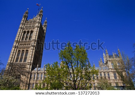 A view of the West side of the Houses of Parliament in London. - stock photo