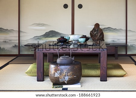 A view of Traditional Japanese Dining Room - stock photo