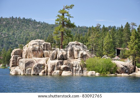 A view of Treasure Island (also known as China and Garstin Island) at Big Bear Lake in the Southern California mountains. - stock photo
