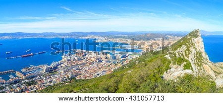 A view of Upper Rock and Alameda Wildlife Conservation Park in Gibraltar - stock photo