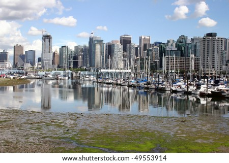 A view of Vancouver downtown harbor boathouse. - stock photo