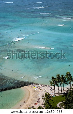 A view of Waikiki Beach from above. - stock photo