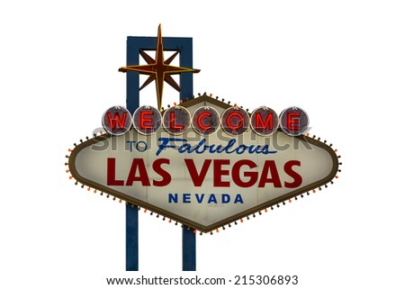 A view of Welcome to Fabulous Las Vegas sign in Las Vegas Strip isolated on white - stock photo
