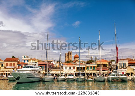A view of yachts in the main marine at Aegina Island, Saronic Islands, Greece - stock photo