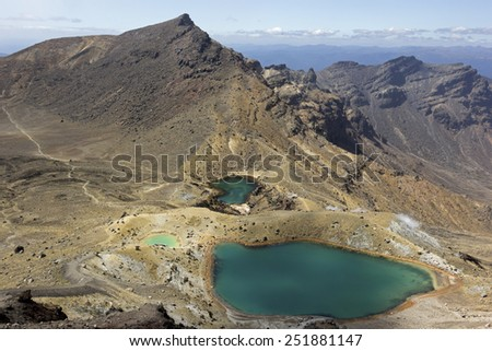 A view on Emerald lakes during crossing Tongarino Alpine Crossing - stock photo