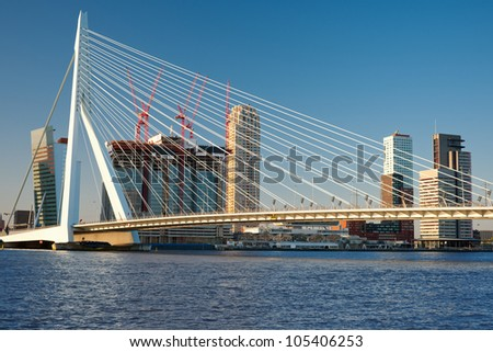 A view on Erasmus bridge in Rotterdam, Netherlands. GPS information is in the file - stock photo