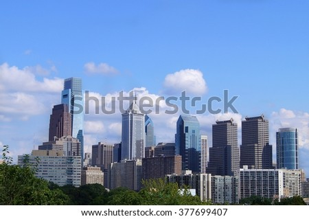 A view over Philadelphia, USA in a bright summer day. - stock photo