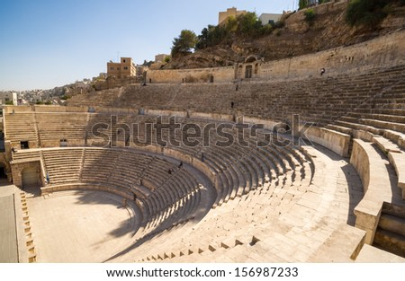 A view over the ancient Roman Theatre in Jordan's capital Amman - stock photo