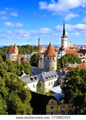 A view over the Old Town of Tallinn, Estonia - stock photo