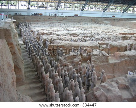 A view over the terracotta soldiers in China - stock photo