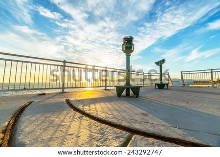 A view terrace in warm sunset light, located near Europa Point in Gibraltar - stock photo