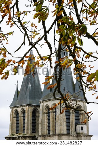 A view through the branches of chestnut tree on the Saint-Nicolas church in the medieval town Blois in Loire valley ( Val de Loire, France)  Selective focus on the twigs. - stock photo