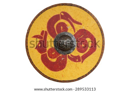 A viking style circular wooden shield, painted with dragons. - stock photo