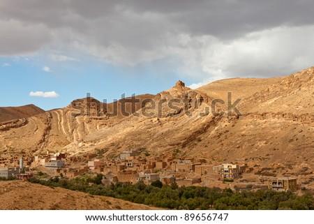 A village in the Atlas Mountain range, Morocco - stock photo
