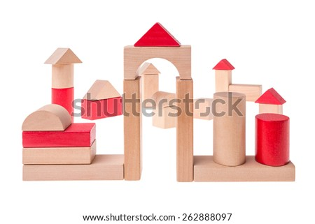A village made out of brick toys. - stock photo