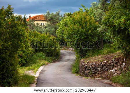 A village next to Tivat.Montenegro. - stock photo