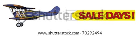 """A vintage airplane flying a banner saying """"Sale Days"""". White Background - stock photo"""