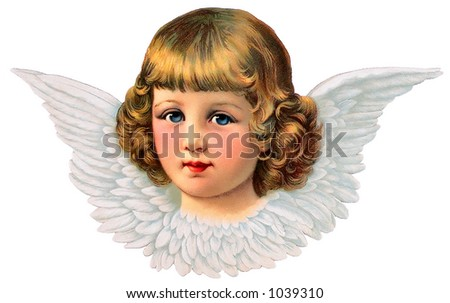 A vintage angel icon - illustration surrounded by feathered wings (circa 1887) - stock photo