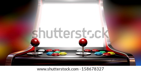 A vintage arcade game machine with colorful controllers and a bright illuminated screen on a bright arcade background - stock photo